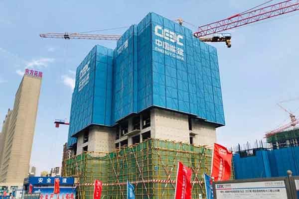 吉林6.21山阳区城中村安置房建设爬架网安装最新进展